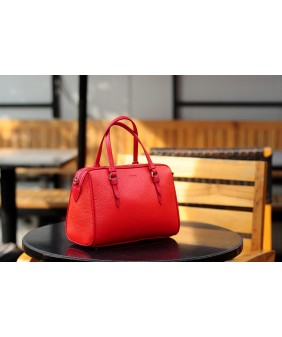 MAYA Duffle bag - In Natural Milled Leather - Orange Red