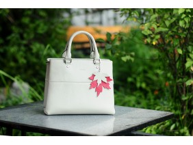 SPRING Satchel bag - In Natural Milled Leather - White