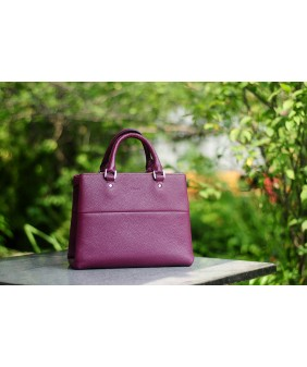 SPRING Satchel bag - In Natural Milled Leather - Purple