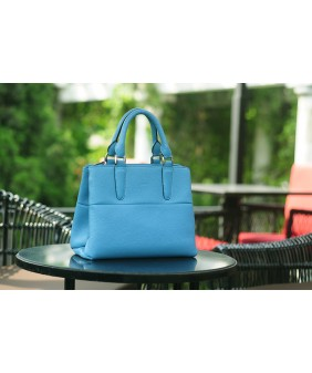 SPRING Satchel bag - In Natural Milled Leather - Blue sea