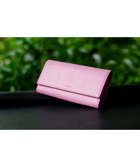 WALLET - In Natural Milled Leather  - Pink