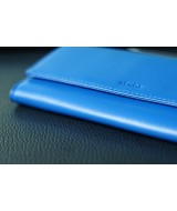 WALLET - In Natural Milled Leather - Egyptian Blue