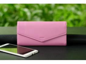 VIC - Ví 3 gấp nữ da bò thật màu hồng  nhạt - FP05-321