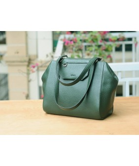 SECRET Tote Bags - In Natural Milled Leather - Green