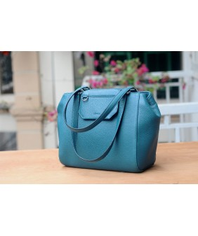 SECRET Tote Bags - In Natural Milled Leather - Teal