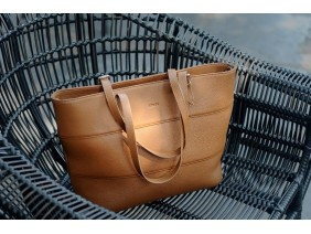 MAINO TOTE - In Natural Milled Leather - Brown