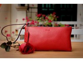 MABEL Clutch - Clutch cầm tay khóa kéo nữ bằng da thật màu Đỏ tươi- FQ19-35