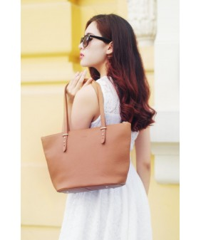 KIARA Tote bag - In Natural Milled Leather - Brown