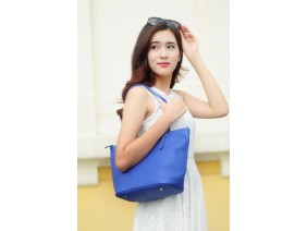KIARA Tote bag - In Natural Milled Leather - Egyptian Blue- GW01-70