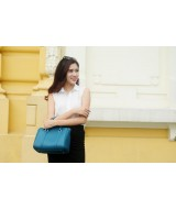 CARRY Large duffle bag - In Natural Milled Leather - Teal
