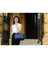 CARRY Large duffle bag - In Natural Milled Leather - Blue Navy