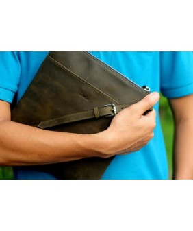UNI Crossbody bag - In Natural Milled Leather - Green
