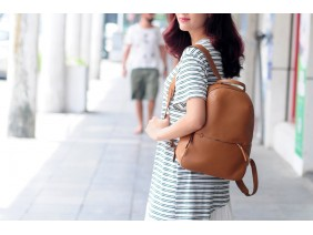 BACKPACK - In Natural Milled Leather - Brown