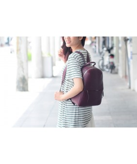 BACKPACK - In Natural Milled Leather - Claret
