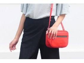 Clutch and Crossbody - In Natural Milled Leather - Orange Red