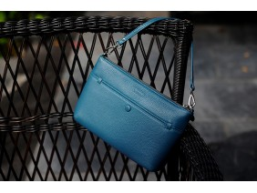 Crossbody bag - In Natural Milled Leather - Teal