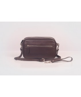 Clutch and Crossbody - In Natural Milled Leather - Brown