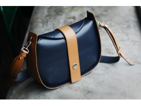 SASSY Crossbody - In Natural Milled Leather -  Blue Navy vs Brown-GO82-71120