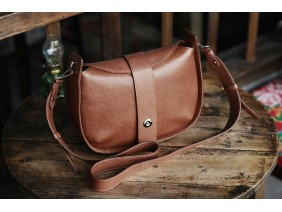 SASSY Crossbody - In Natural Milled Leather - Brown