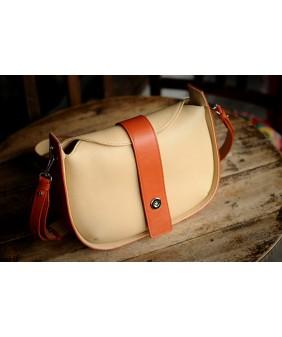 SASSY Crossbody - In Natural Milled Leather - Beige vs Orange