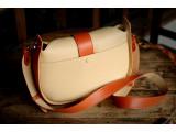 SASSY Crossbody - In Natural Milled Leather - Beige vs Orange-GO82-2644