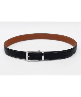 Men's belts - In Natural Milled Leather -  Black & Brown 3.5cm