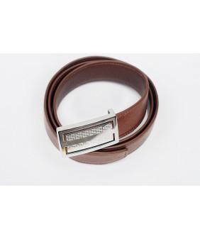 Men's belts - In Natural Milled Leather - Brown 3.5cm