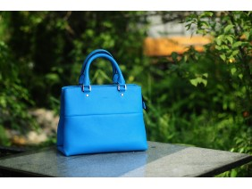 SPRING Satchel bag - In Natural Milled Leather - Blue Sky