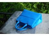 SPRING Satchel bag - In Natural Milled Leather - Blue Sky