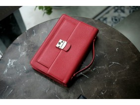 Bag - In Natural Milled Leather - Blue Red