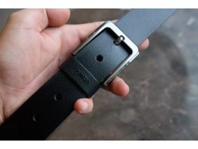 KONG -Dây thắt lưng nam da thật 1 lớp nguyên miếng  Màu đen - YJ75-10