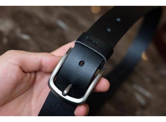 KONG -Dây thắt lưng nam da thật 1 lớp nguyên miếng  Màu đen - YJ77-10