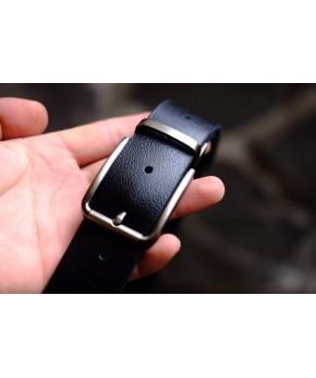 POM - Dây thắt lưng nam da thật 1 lớp nguyên miếng màu đen YJ90-10