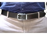 POM - Dây thắt lưng nam da thật 1 lớp nguyên miếng màu nâu YJ91-20