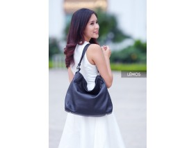 HANM HOBO -In Natural Milled Leather - Black - HT01-10