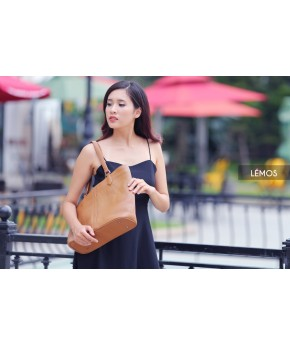 HY88-20- NEM TOTE - IN NATURAL MILLED LEATHER - BROWN