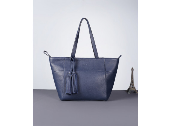 DEA TOTE - In Natural Milled Leather - Navy Blue