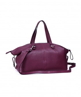 BIMO Shell - In Natural Milled Leather - Claret